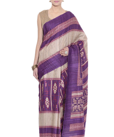 New Traditional Off White And Dark Violet printed tussar silk Saree