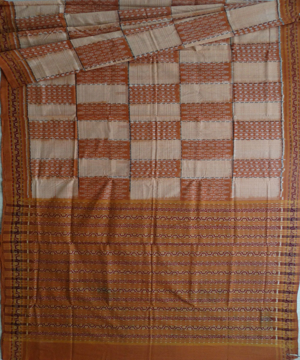 Bronze Chocolate Sambalpuri cotton Saree