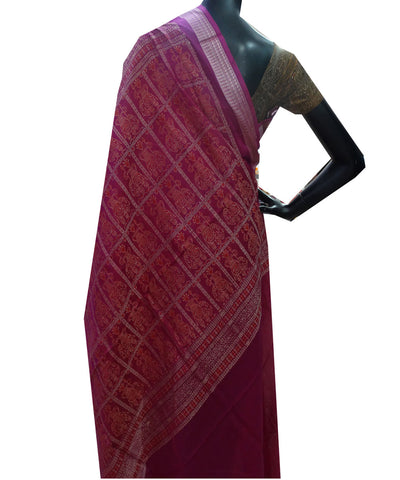 Unique CreamDeep Blue And Deep Fuchsia Bomaki  tie And dye  cotton Saree