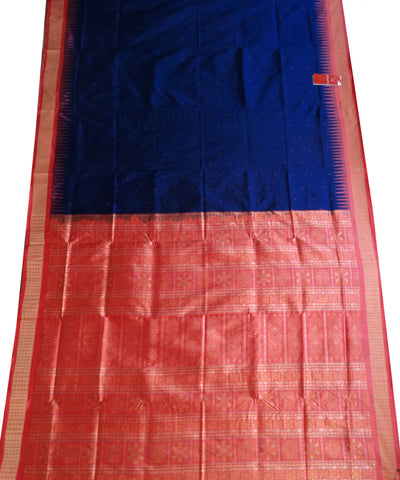 Exclusive Ink Blue And Dark Pink Bomkai Silk Saree