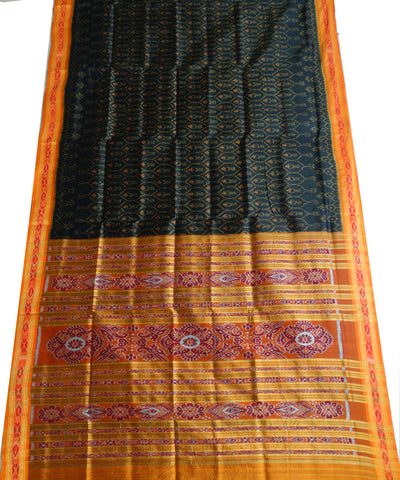 Black Bright Orange Ikat Khandua silk Saree