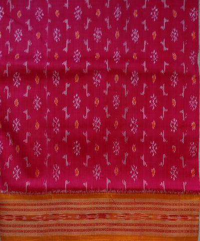 Exclusive Fluorescent Pink And Flame Traditional Ikat Khandua silk Saree