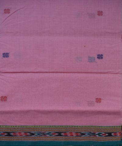 Traditional Baby Pink And Green Barhampuri Cotton Saree