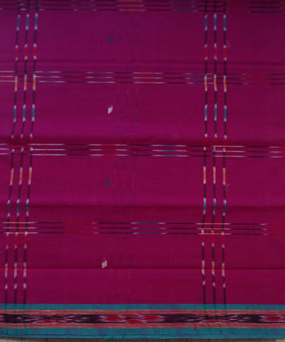 Traditional Dark Magenta And Celadon Green Barhampuri Cotton Saree