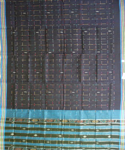 Traditional Dark Midnight Blue And Denim Barhampuri Cotton Saree