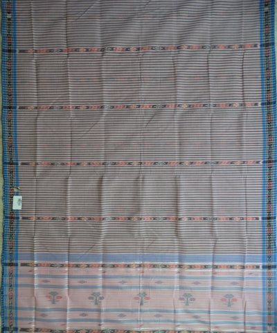 Traditional Baby Pink And French Blue Barhampuri Cotton Saree