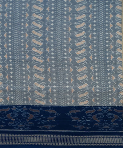 Columbia Blue Ikat Sambalpuri cotton Saree