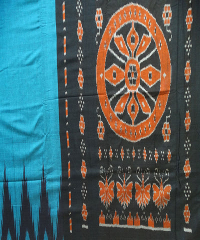 Unique Denim And Black Traditional Ikat Sambalpuri cotton Saree