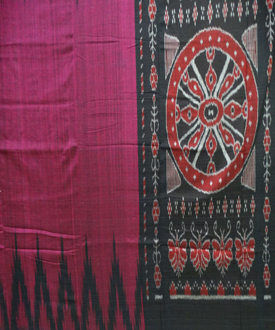 Unique Dark Magenta And Black Traditional Ikat Sambalpuri cotton Saree