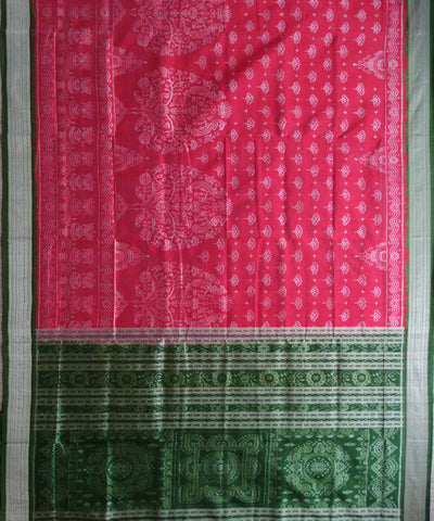 Exclusive Dark Pink And Spring Green sambalpuri Ikat Silk Saree