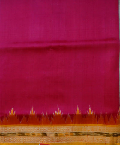 Exclusive Fluorescent Pink And Bright Yellow Traditional Ikat Khandua silk Saree