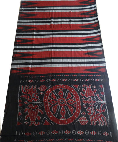 Exclusive Gray And Multi colour Traditional Ikat Tie And Die Cotton Saree
