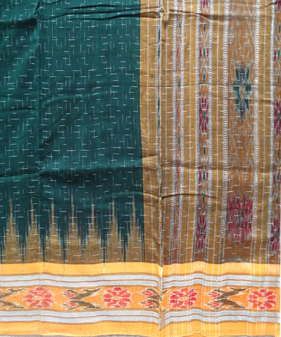 Exclusive Bottle Green And Orange Traditional Jharana Ikat Tie And Die Cotton Saree