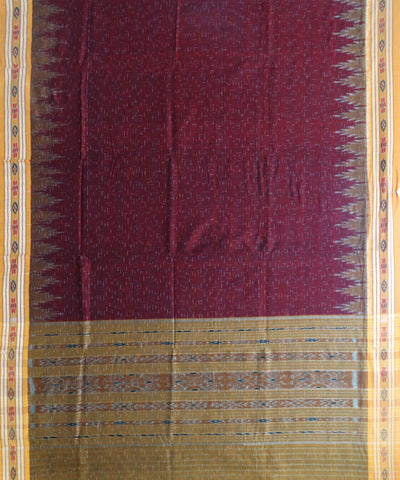 Exclusive Maroon And Orange Traditional Jharana Ikat Tie And Die Cotton Saree