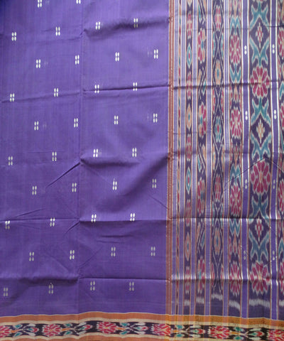 Traditional French Lilac And Cocoa Brown Barhampuri Cotton Saree