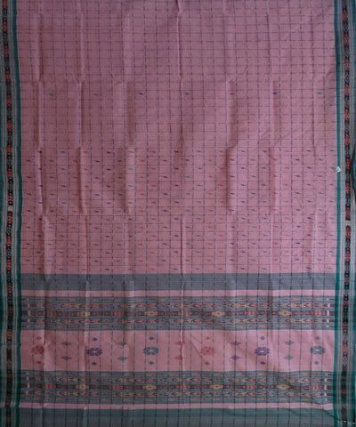 Baby Pink Green Barhampuri Cotton Saree