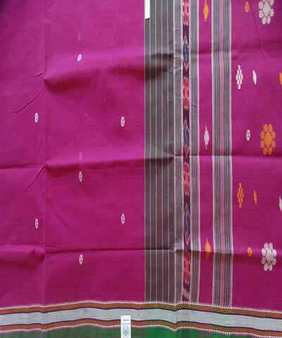 Traditional Fashion Fuchsia And Green Barhampuri Cotton Saree