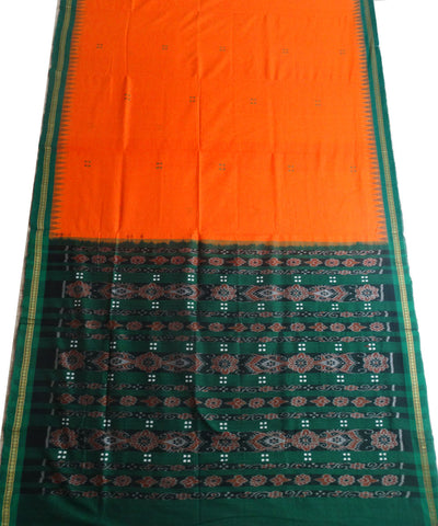 Unique Orange And Bottle Green Traditional cotton Saree