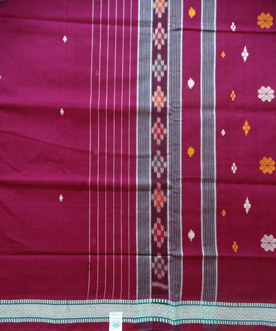 Magenta Green Berhampuri Cotton Saree