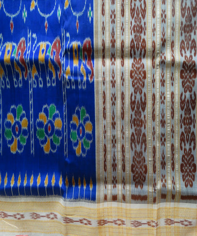 Exclusive Ink Blue And Off White Traditional Ikat Khandua silk Saree