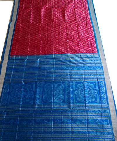Exclusive Deep Pink And Denim Sambalpuri Silk Saree