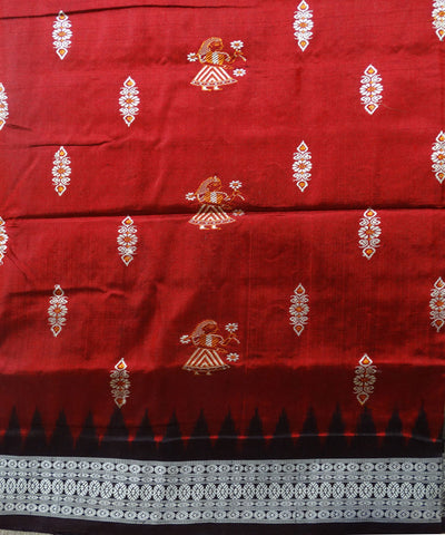 Off White Maroon Brown Doll Bomkai Silk Saree
