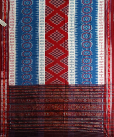 Exclusive DenimWhite And Red Traditional Ikat  Tie And Die Cotton Saree
