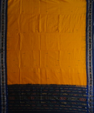 Exclusive Yellow And Blue Traditional Ikat Tie And Die Cotton Saree