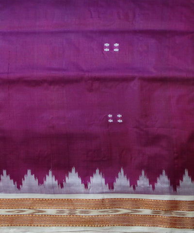 Off White Traditional Ikat Khandua silk Saree