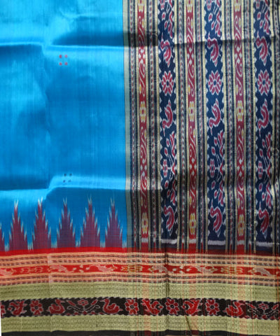 Blue Black Red Ikat Khandua silk Saree