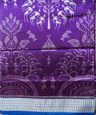Dark Violet Blue Sambalpuri Silk Saree