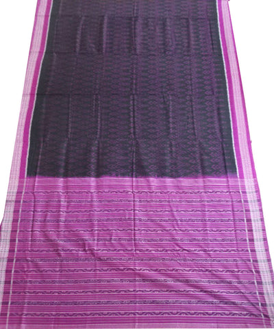 Black Dark Magenta Ikat cotton saree