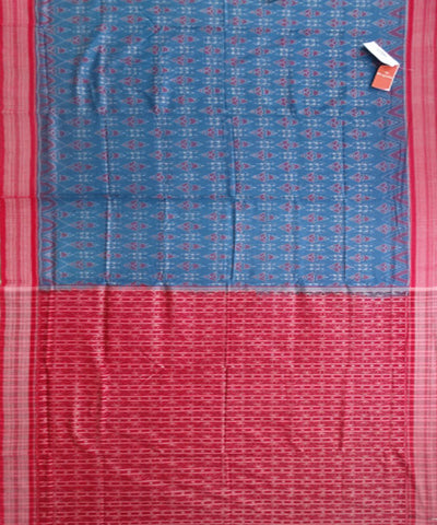 French Blue Dark Red Ikat cotton saree