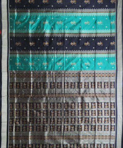 Green-Cyan Silk Saree