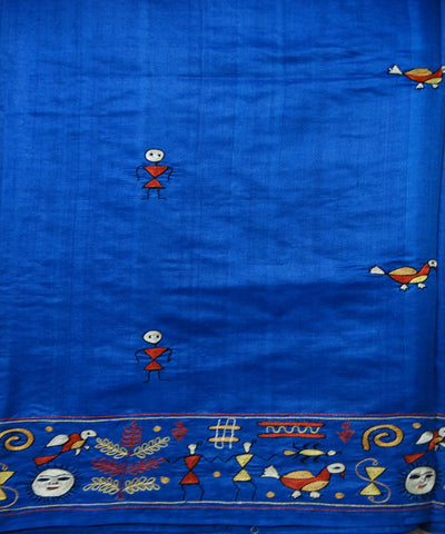 Dark Powder Blue Tussar Saree