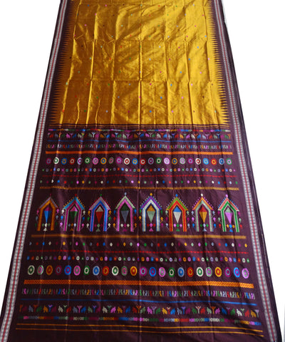 Copper Dola Bedi Ikat Silk Saree