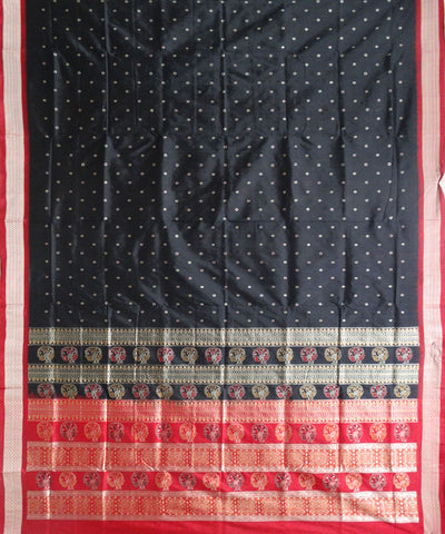 Black And Champagne  Bomkai Silk Saree