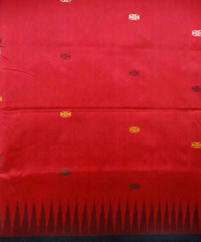 Dark Red bird bomkai silk saree