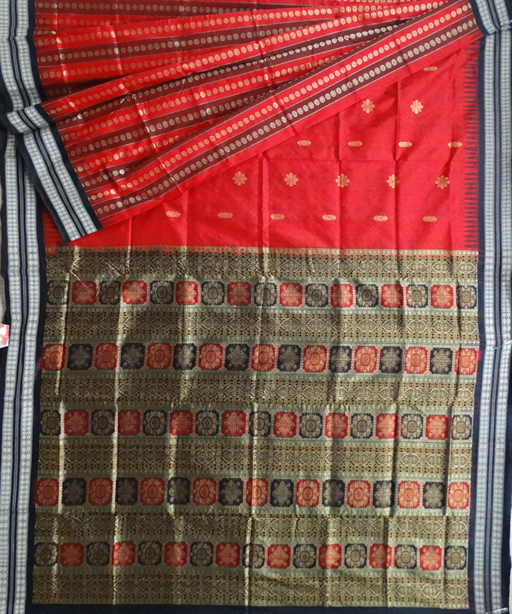 Dark Red Bomkai silk saree
