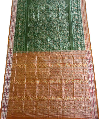 Deep Spring Bud traditional ikat silk saree