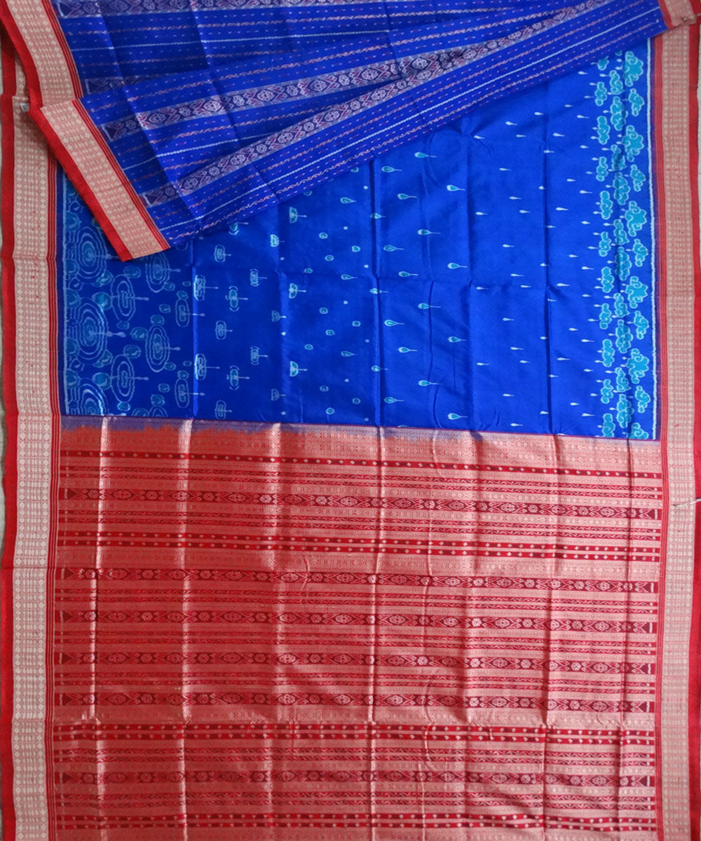 Egyptian Blue rain drop partly ikat silk saree