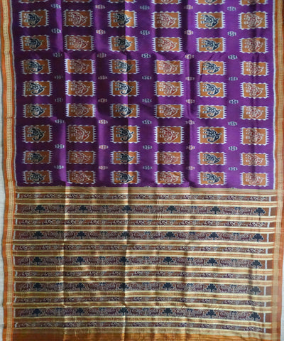 Electric Violet elephant Nuapatna ikat silk Saree