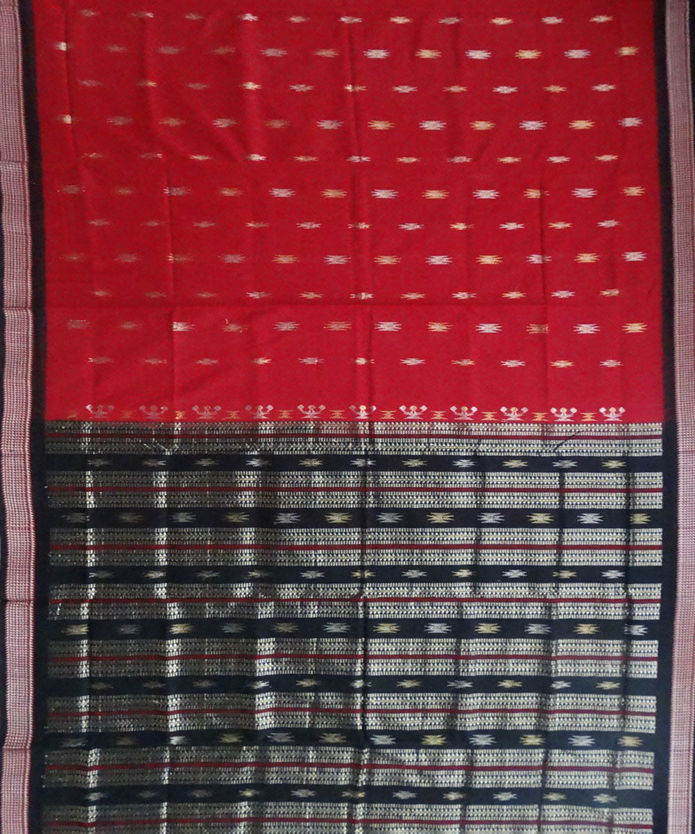 Dark red bomkai cotton saree