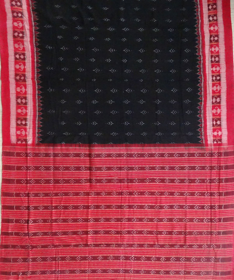 Black and Pink Sambalpuri Ikat Cotton Saree
