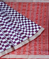 White & magenta pasapali silk saree