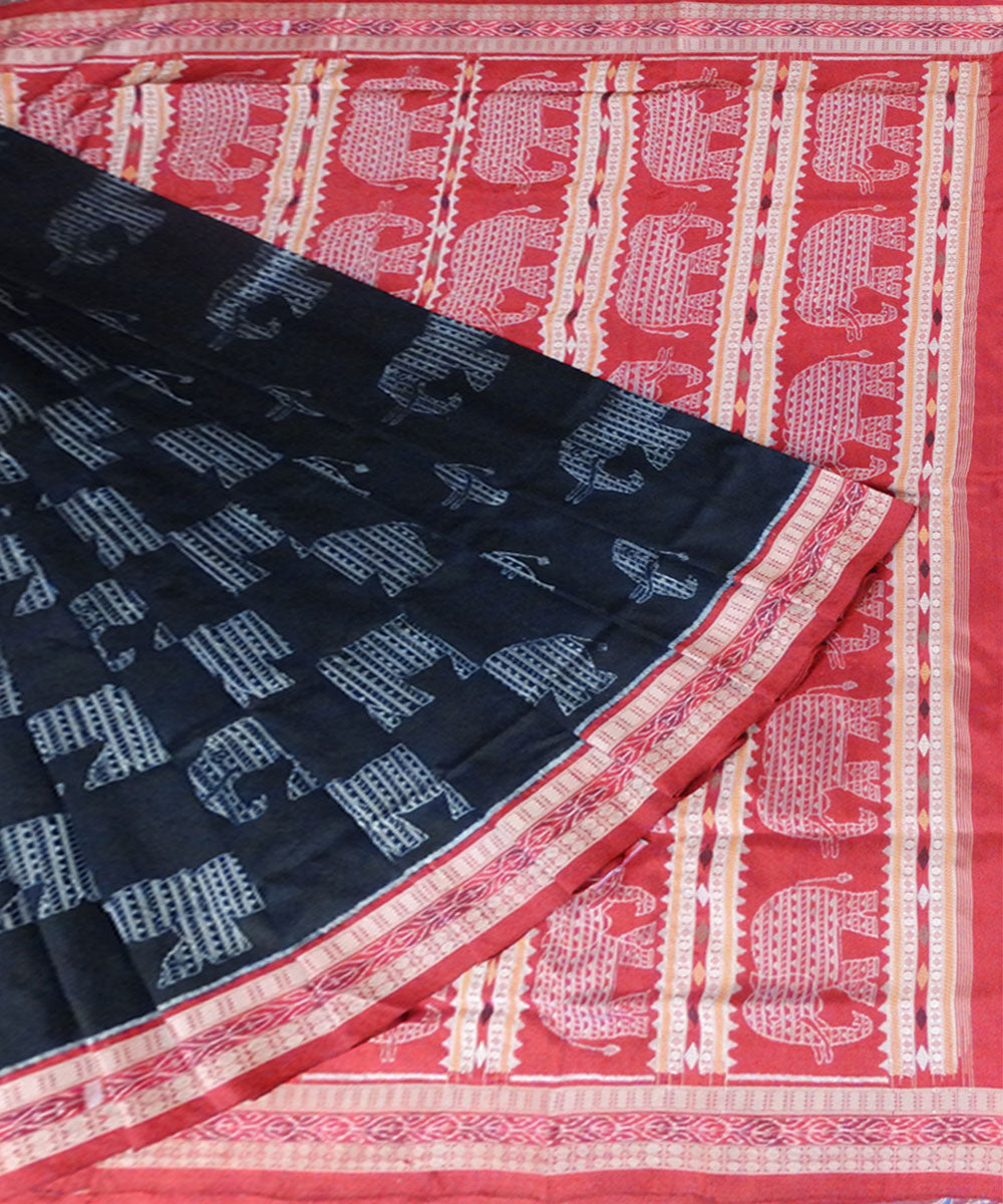 Black elephant ikat silk saree