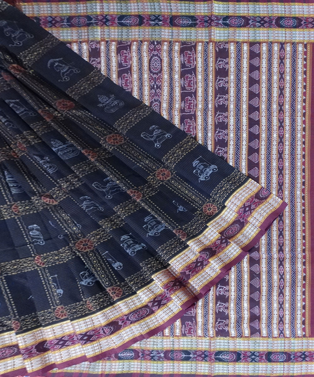 Sambalpuri Handwoven Black Cotton Saree