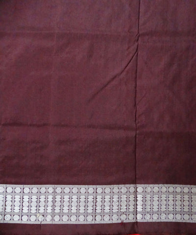 Dark Red Handwoven Bomkai Silk Saree
