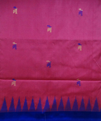 Dark pink bomkai silk saree