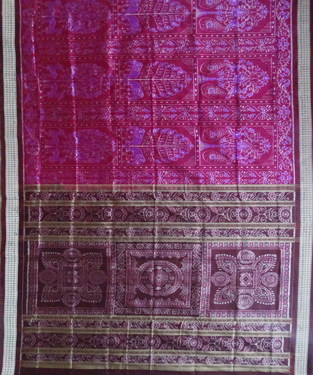 Alabama Crimson ikat silk saree